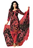 #7: Salwar Studio Women's Coral Pink & Black Synthetic Floral Printed Dress Material with Dupatta