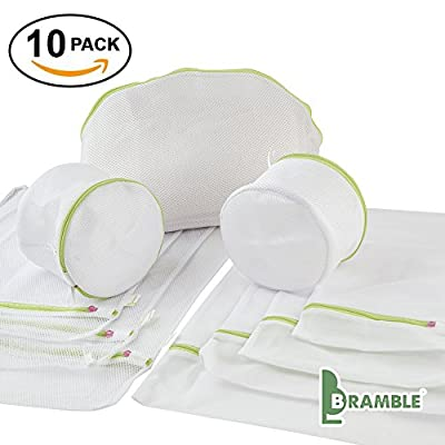 Bramble - Laundry Bags - Clothing Protective Mesh Washing Bag set with Zip - 10 Bag Premium Set