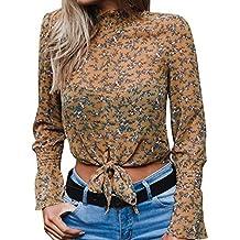 Bestow Camisa Corta con Estampado Floral con Estampado de Leopardo y Manga Corta con Estampado de