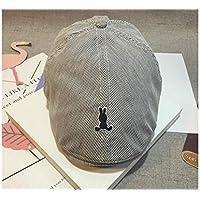 Sombrero de los niños Niños conejo bordado rayas boina sombrero Niños Sun visera protección solar tapa plana para exterior (negro) Gorra para niños pequeños ( Color : Black , tamaño : 52-54cm )