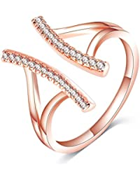 Jewels Galaxy Exclusive Luxuria AAA Swiss AD Fascinating 18 Rose Gold Adjustable Ring for Women/Girls