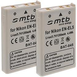 2x Batterie EN-EL5 pour Nikon Coolpix P80, P90, P100, P500, P510, P5000... voir liste!