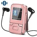 AGPTEK Reproductor MP3 Bluetooth 8GB, G6 Mini Clp3 Mp3 Running con con Radio FM, Grabadora de Voz y Accesorios (Auriculares, Banda del Brazo, Funda Silicona ect.), Color Rosado