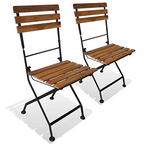 Festnight- sedie pieghevoli da giardino 2 pz in legno di acacia 40x46x85 cm