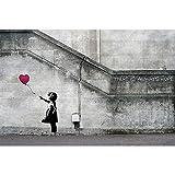 great-art XXL Poster Graffiti Künstler Banksy Art Balloon Girl - There is Always Hope Wandbild Kunstdeko Foto Dekoration Fotoposter Urban Street Style Stencil Motiv (140 x 100 cm)