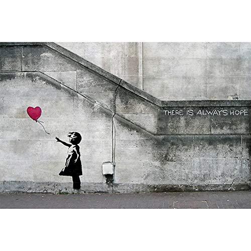 GREAT ART XXL Poster - Graffiti Künstler Banksy Art Balloon Girl - There is Always Hope Wandbild Kunstdeko Foto Dekoration Fotoposter Urban Street Style Stencil Motiv (140 x 100 cm) -