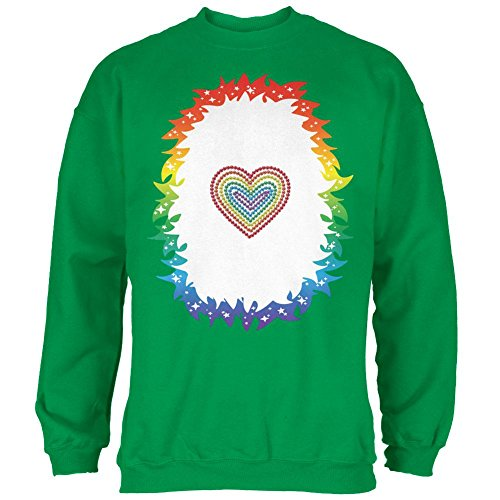 Halloween Regenbogen Herz Einhorn Kostüm Pony Mens Sweatshirt Irish Green (Ign Kostüme Halloween)