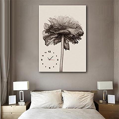 TRRE-Modern Style tela pittura soggiorno semplice sole crisantemo orologio da parete in 1pcs tela