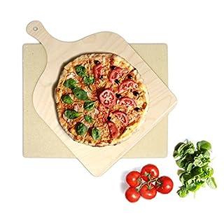 KLAGENA Pizzastein für Backofen und Grill, set inkl. Pizzaschaufel, Brotbackstein-Set aus Cordierit 38 x 30 x 1.5 cm