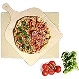 KLAGENA Set Pietra refrattaria per pizza e pane, per forno e barbecue - Pietra per pizza / Set con pietra per pizza e pane per pizze e pane appena sfornati - con 2 anni di garanzia soddisfatti o rimborsati