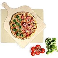 KLAGENA Set de Piedra y espátula de Pizza y Pan para Horno y Grill – Pala de Pizza/Pala para panes caseros - con 2 años de garantía de devolución de Dinero