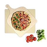 KLAGENA Pizzastein für Backofen und Grill, set inkl. Pizzaschaufel, Brotbackstein-Set aus Cordierit 38x30x1.5 cm