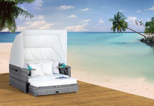 Liegeinsel beach lounge  Polyrattan Liegeinsel Beach Lounge Ashe wetterfest hochbequem ...