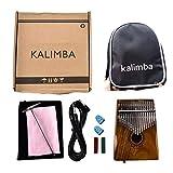 XuBa Portatile 17Tasti EQ Kalimba Thumb Piano in Acciaio Massiccio Finger Piano con minerali Tuner Martello Acacia Corpo with Bag