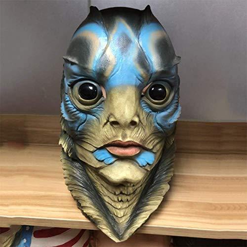 QIAO Halloween Requisiten Fisch Mann Maske Latex Maske (Zombie Burlesque Kostüm)