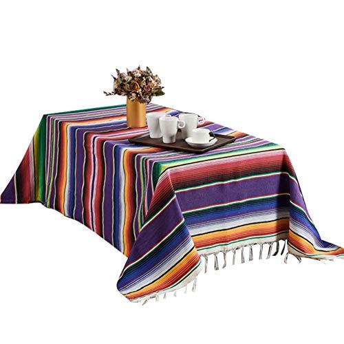 Manta mexicana - Gran manta de playa de estilo étnico a rayas de algodón cuadrada - Mantel para decoraciones de bodas mexicanas, manta hecha a mano de arco iris Tapete para el hogar de tapicería