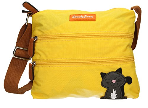 SwankySwans - Riley Cat Designer, Borsa a tracolla Donna Yellow