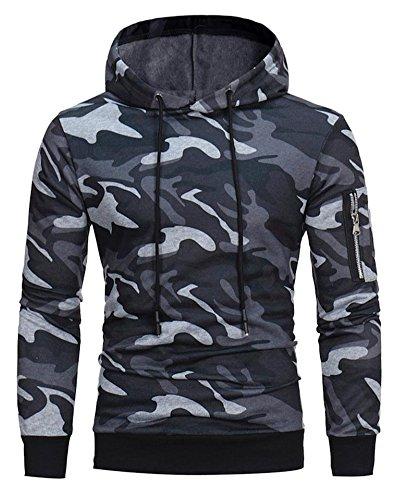 Minetom Uomo Felpa Con Cappuccio Hoodies Hooded Moda Camuffamento Sweatshirt Manica Lunga Cappotto Giacca Pullover Tops Outwear Inverno Grigio