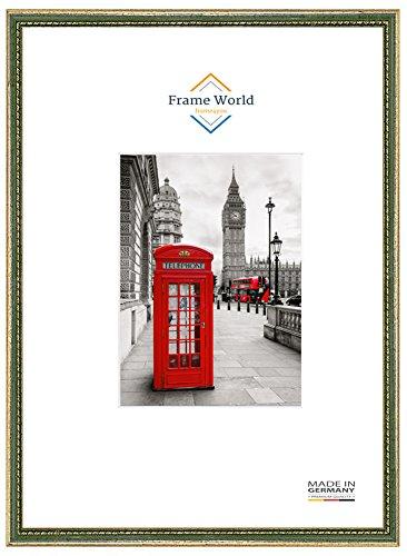 FW26 Echtholz Bilderrahmen für 61 cm x 91,5 cm Poster, Farbe: Gold-Grün, inkl. entspiegeltem Acrylglas (Antireflex), Rahmen Breite: 26 mm, Aussenmaß: 64,4 cm x 94,9 cm