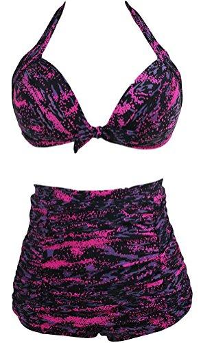 sunifsnow-donna-rivestimento-non-cerchi-raccogliere-regolabile-cinghie-halter-split-bikini-pink-blac