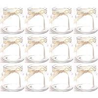 Annastore 12 x Teelichtgläser - Windlichter mit cremefarbenem Band H 7 cm - Windlichthalter Vasen
