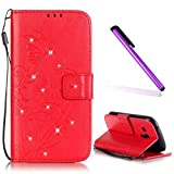 Samsung Galaxy S3 Mini Hülle Glitzer,Samsung Galaxy S3 Mini Hülle Leder,Galaxy S3 Mini I8190 Leder Handy Tasche Wallet Case Flip Cover Etui,EMAXELERS Galaxy S3 Mini Hülle Floral,Glitzer Bling Schmetterling Muster Schutzhülle Ledertasche LederHülle HandyHülle Hüllen für Samsung Galaxy S3 Mini,Slim Flip Soft Case Etui Hülle mit Standfunktion Kunstleder für Samsung Galaxy S3 Mini,Red Butterfly with Diamond