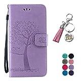 LA-Otter Kompatibel für Huawei P30 Lite Hülle Eule Lila Leder Wallet Cover Tasche Handyhüllen mit Kartenfach Schutzhülle Flip Case