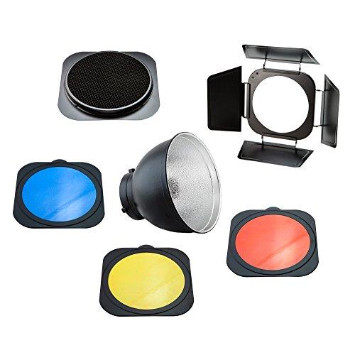 PhotoSEL FRS558BN Standard Reflektor-Set (Torblende, Wabenrastern, Farbfilter-Set - 55 Grad, 20 cm Durchmesser, Halterung Bowens Typ S) Bowens Set
