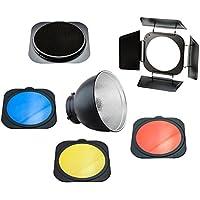 PhotoSEL FRS558BN - Riflettore standard completo di deflettore con alette, griglia, set di gelatine colorate, 55 gradi, diametro 20 cm, supporto tipo S, per flash da studio professionale PhotoSEL / Bowens