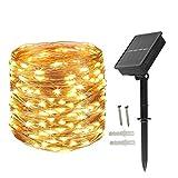 BXROIU 200LEDs Solar Cadena de Luces 22 Metros Guirnalda Luces Exterior,8 Modos de Luz para Navidad, Fiestas, Bodas, Patio (blanco cálido)