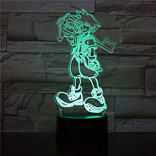 Lixiaoyuzz Nachtlampe Usb 3D Led Multicolor Dekorative Lichter Jungen Kinder Baby Geschenke Spiel Kingdom Hearts Tischlampe Nachttisch -