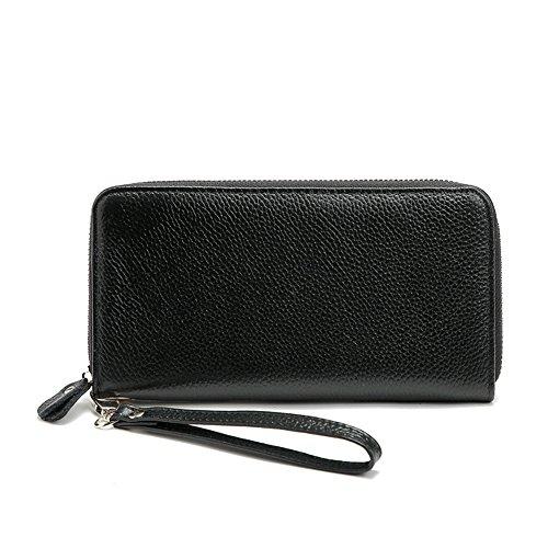 Gendi Vera Pelle Borsa lunga femminile Portafoglio Donne Pocket Donna con Zipper Pocket (rosa) nero