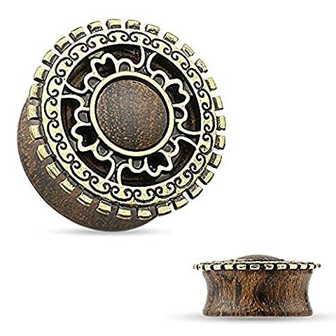 1 x 4 mm antikes Gold überzogenes Tribal Schild Gekrönt Bio Holz Sattel Stecker (Opal Gold Überzogenes)
