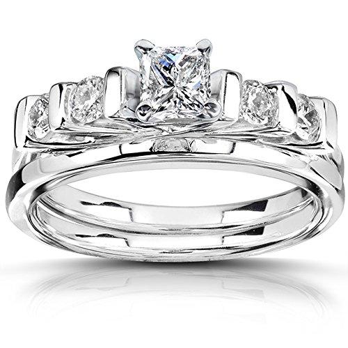 Kobelli  -  14 Kt  Weißgold Prinzessschliff Rundschliff   Feines Weiß/Top Wesselton (G) - Weiß/Wesselton (H) Weißer Diamant - Diamant-ring Tiffany Engagement