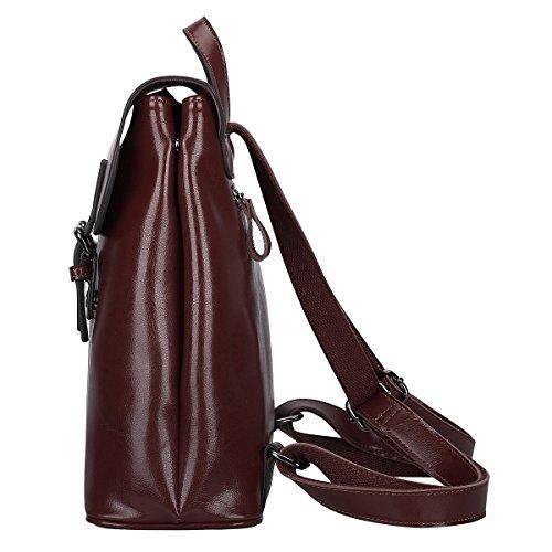 S-ZONE Zaino di cuoio delle donn Retro Chic Daypack Preppy Commuter Bag (Nero) Cachi
