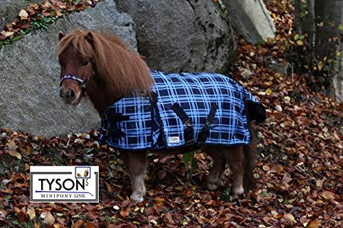 Outdoor Decke Blau Karo Fleece Futter 65 75 85 95 105 Rückenlänge Tysons Regendecke Minishetty Shetty Falabella Fohlen (65)