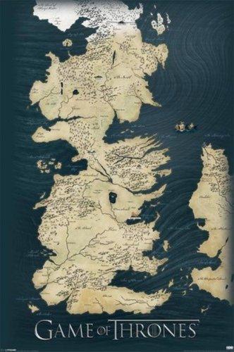 1art1® 58676 - Mapa Los 7 Reinos Poniente Juego Tronos