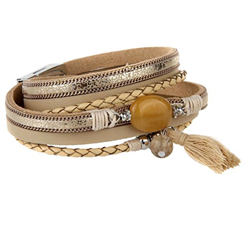 sharprepublic Frauen Multilayer PU Leder Geflochtenes Armband Mit Fransen Quaste Achat - Khaki (Cowgirl-schmuck)