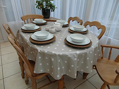 The Tablecloth Company Nappe ovale en PVC/vinyle - Motif à pois - Couleur champagne - Pour table 6 places - 140 x 200 cm