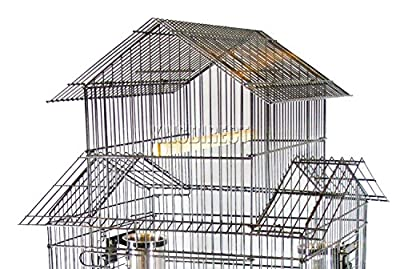 FoxHunter Large Metal Bird Cage Stand For Parrot Macaw Budgie Canary Finch Cockatiel Aviary Lovebird Parakeet With Wheel MBC-02 Hammered Silver by KMS