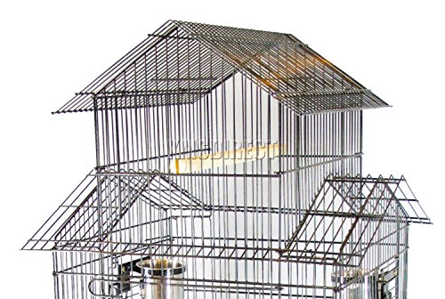 FoxHunter Large Metal Bird Cage Stand For Parrot Macaw Budgie Canary Finch Cockatiel Aviary Lovebird Parakeet With Wheel… 2