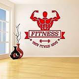 guijiumai Adesivo murale Uomo muscoloso Nome Personalizzato Adesivi murali Sportivi Fitness Vinile Wall Art Poster Camera da Letto Decorazione della casa Z 2 85X93 CM
