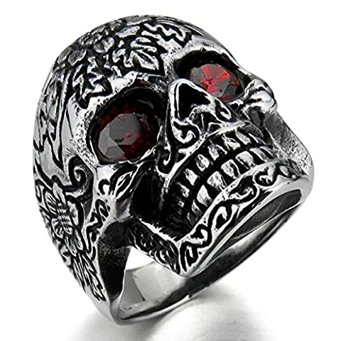 Epinki,Fashion Jewelry Men's Stainless Steel Rings CZ Silver Black Red Skull Sunflower Gothic Size X