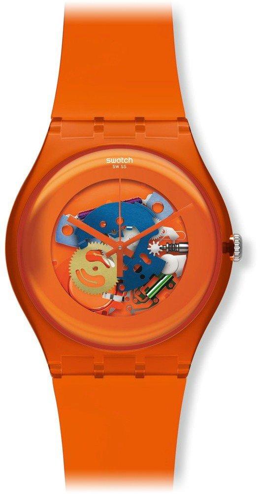 Swatch SUOO100 – Reloj analógico de cuarzo unisex con correa de plástico, color naranja