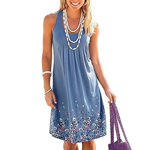 Damen Sommer Kleid ärmellos Drucken Kleid A-Linie Knielang Strandkleid Casual Lose Sommerkleid