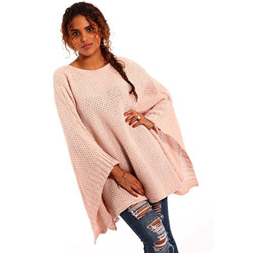 Made Italy - Poncho - Cape - Uni - Sans Manche - Femme Rose - Rose