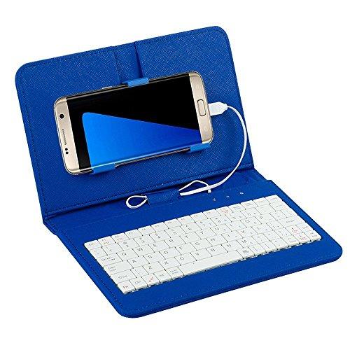 Efanr tastiera universale con cavo, custodia ad aletta per Samsung Galaxy Note 5, 4, 2, S7, S6, S4, S3, HTC M9, M8, One Plus One e altri cellulari Android da 10,7  16,5 cm con micro USB