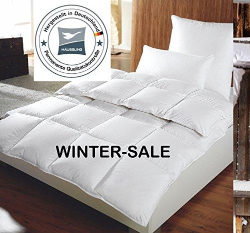 Preisvergleich Produktbild Häussling warme Winter Daunendecke 155x220 cm, 1260g neue 90% Daunen Klasse I, 4x6 Kasetten, Wärmeklasse 4, MADE IN GERMANY