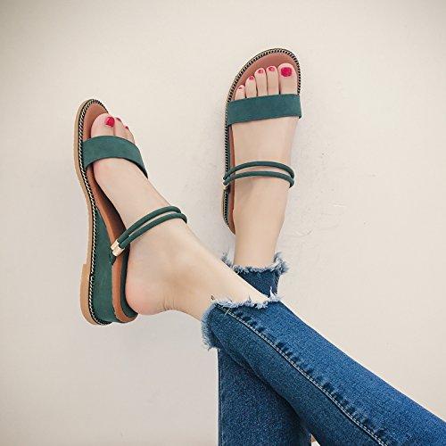 ZPPZZP Ms sandali pantofole coreano-stile selvaggio uno studente fondo piatto 36EU