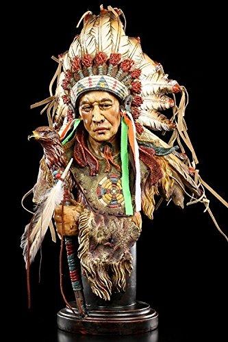 Indianer Figur groß - Häuptling Büste mit Adler Zepter Indianer Büste